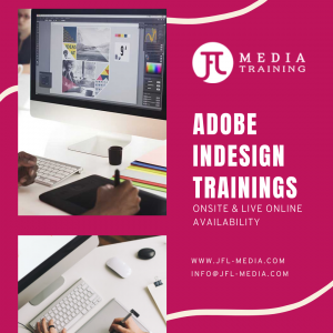 Indesign private and corporate trainings live online classes in Calgary Vancouver Toronto Canada by JFL Media Training